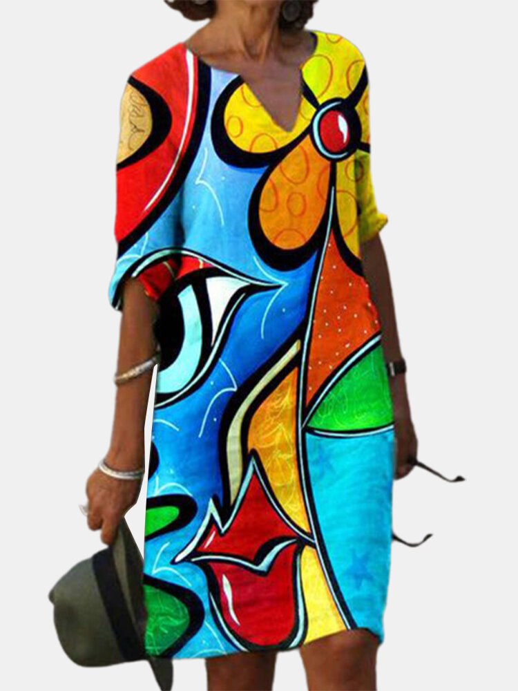 Multi-color Abstract Print Half Sleeve Vintage Dress For Women