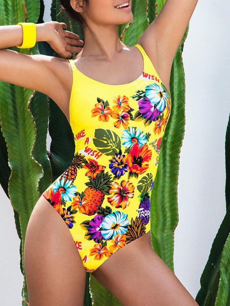 Ericdress Printing Conjoined One Piece Plant Sexy Swimwear