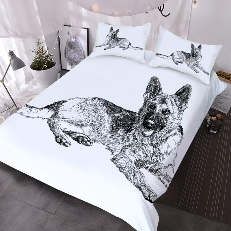 3D Charcoal Drawing Dog 3Pcs Lightweight Warm Comforter Set with 2 Pillow Shams