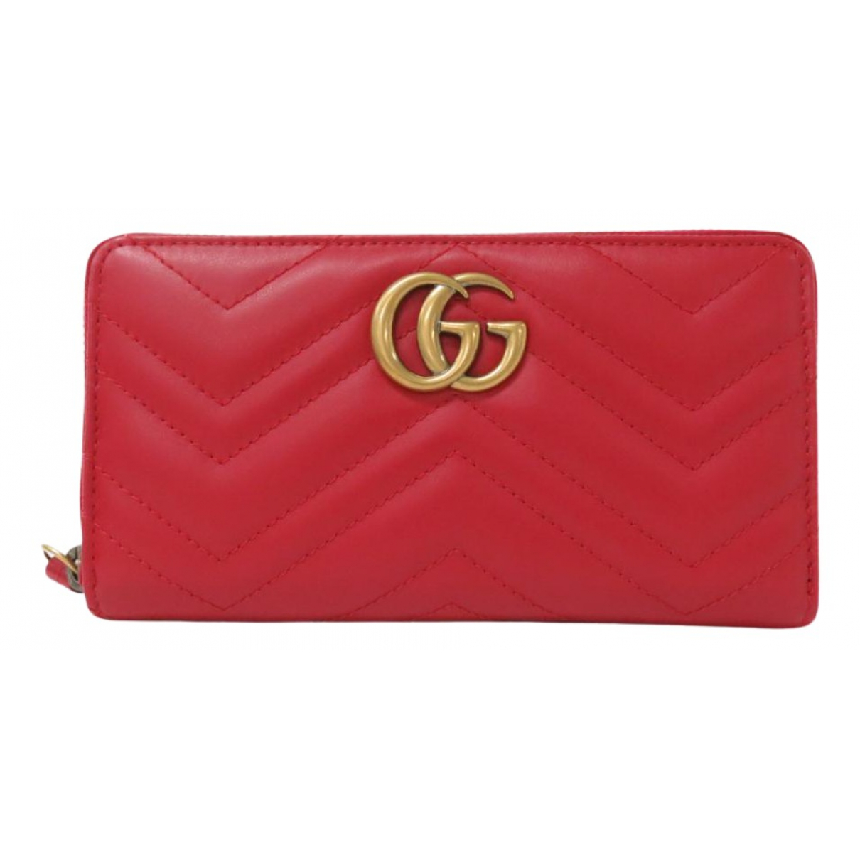 Gucci Marmont Portemonnaie in  Rot Leder