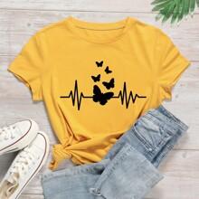 Camiseta de manga corta con estampado de mariposa
