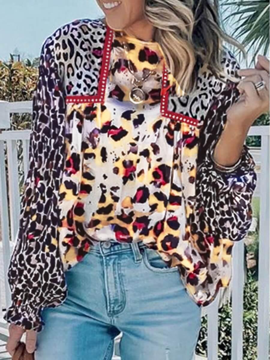 LW Lovely Street O Neck Leopard Print Blouse