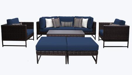 Barcelona BARCELONA-08c-BRN-NAVY 8-Piece Patio Set 08c with 2 Corner Chairs  2 Club Chairs  1 Armless Chair  1 Coffee Table and 2 Ottomans - Beige