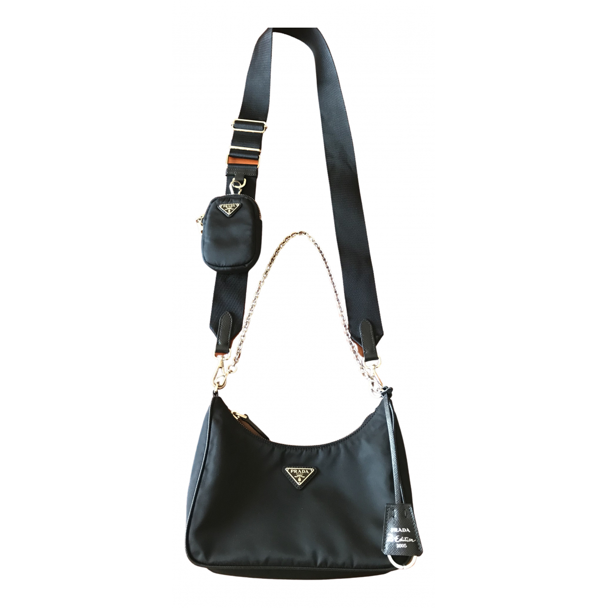Prada Re-edition Handtasche in  Schwarz Leinen