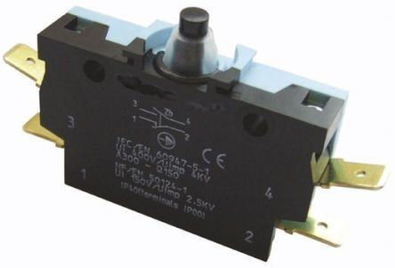Crouzet DT-NO/NC Plunger Microswitch, 6 A @ 250 V ac