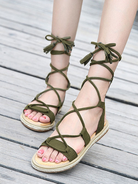 Milanoo Black Gladiator Sandals Suede Leather Open Toe Lace Up Sandals