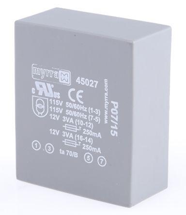 Myrra 12V ac 2 Output Through Hole PCB Transformer, 6VA