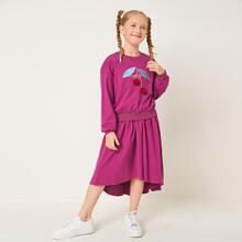 Girls Embroidery Pom Pom Detail Pullover & Skirt Set