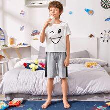 Schlafanzug Set mit Karikatur Grafik