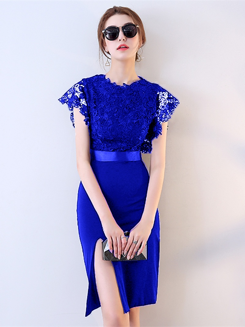 Ericdress Sheath Cap Sleeve Lace Bodycon Homecoming Dress With Slit