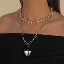 2 piezas collar con cadena con corazon