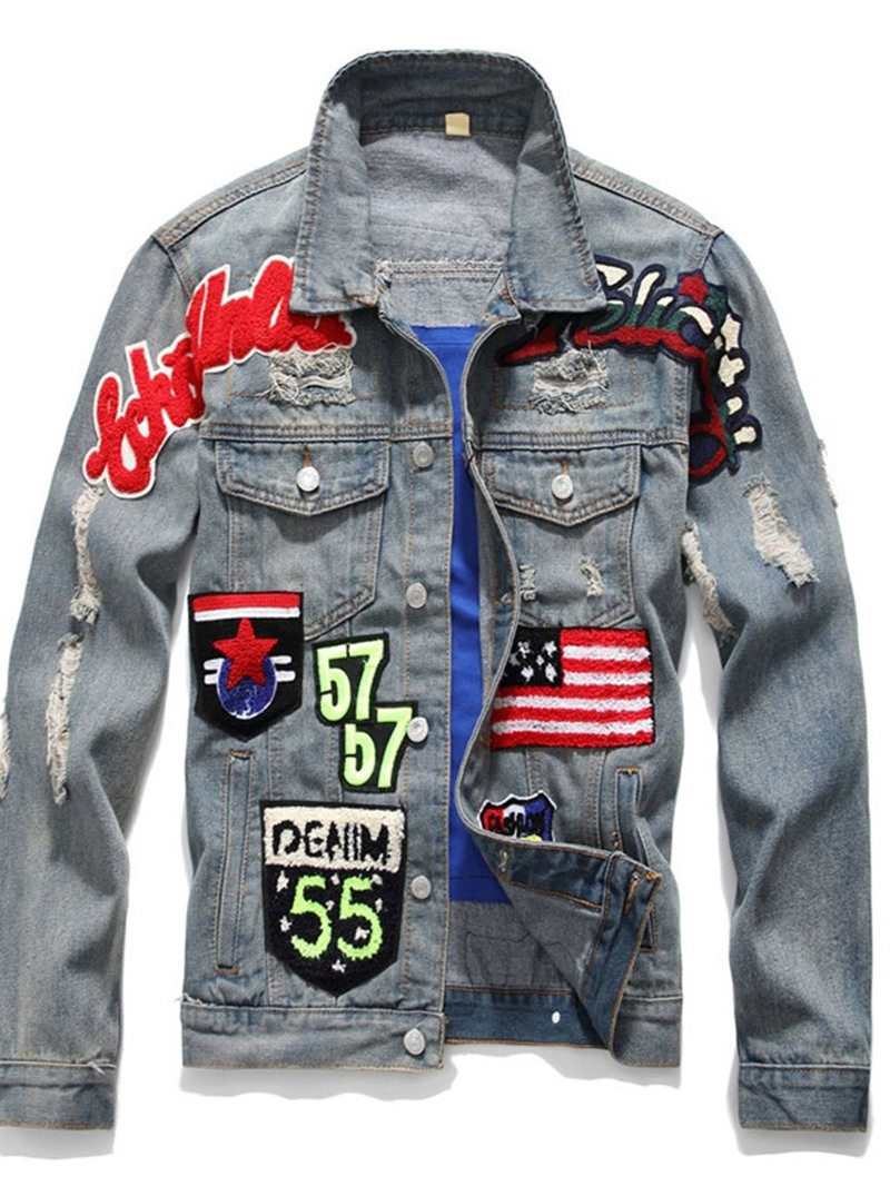 Ericdress Letter Lapel Appliques Single-Breasted Mens Jacket