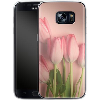 Samsung Galaxy S7 Silikon Handyhuelle - Pink Tulips von Joy StClaire