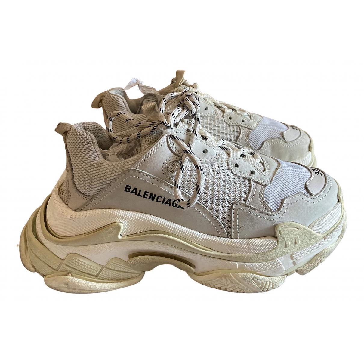 Balenciaga Triple S Sneakers in  Weiss Kalbsleder in Pony-Optik