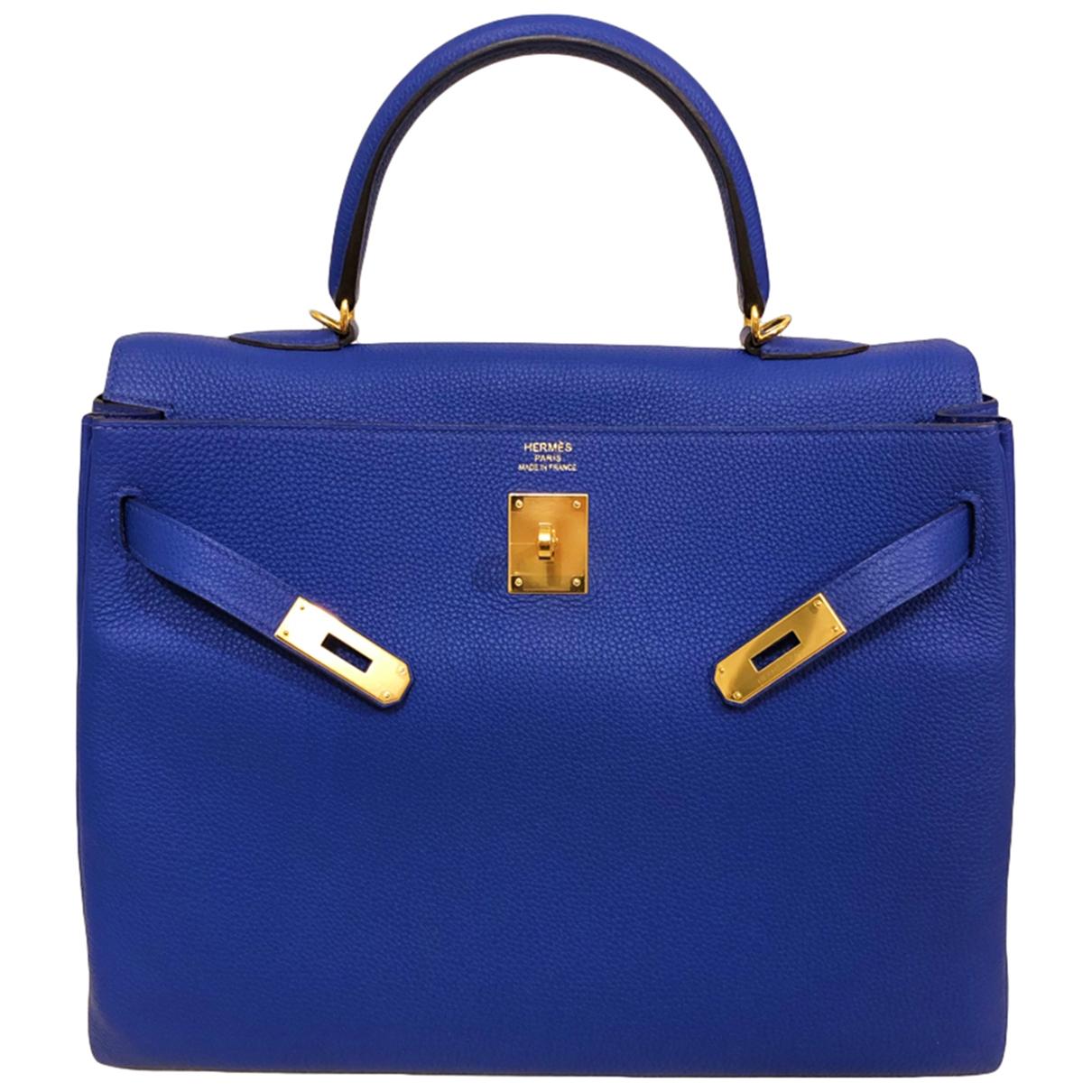 Hermès Kelly 35 Blue Leather handbag for Women \N