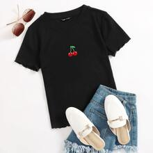 Lettuce Trim Cherry Embroidered Rib-knit Tee
