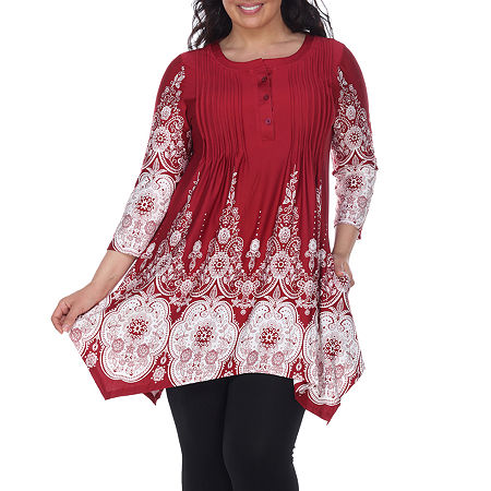 White Mark-Plus Dulce Womens Henley Neck 3/4 Sleeve Tunic Top, 3x , Red