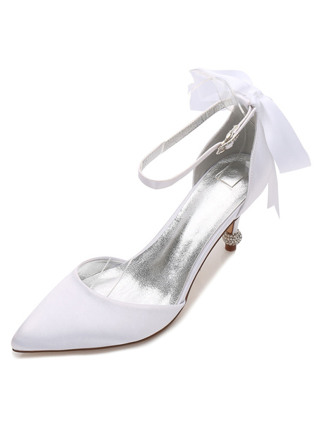 Milanoo Zapatos de novia de saten Medio alto(5.08-7.62cm) Zapatos de Fiesta Zapatos blanco  de tacon de kitten Zapatos de boda de puntera puntiaguada