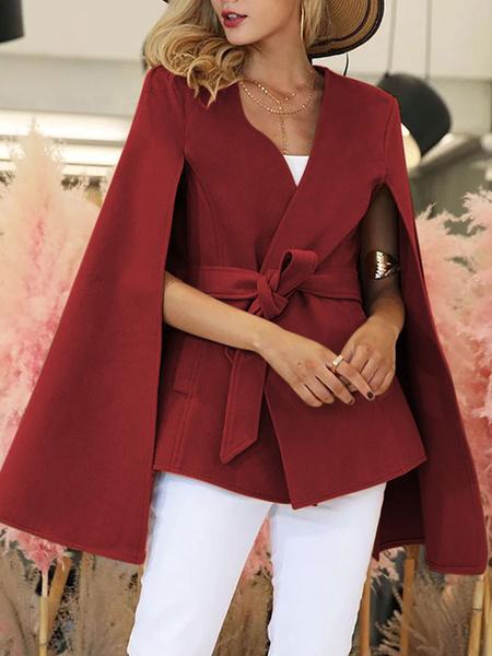 Milanoo Poncho de mujer con cuello en V, lazo rojo, faja, capa envolvente