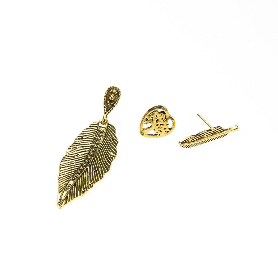Vintage A Set of Ear Drop Stud Heart Hollow Tree Leaves Earrings Plant Jewelry Set Gift for Women
