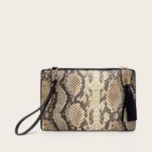 Tassel Decor Snakeskin Clutch Bag With Wristlet