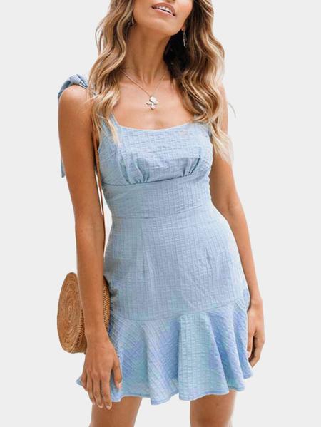 Yoins Light Blue Bowknot Design Square Neck Sleeveless Dress