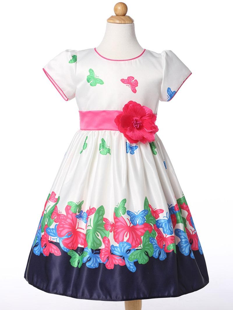 Ericdoress Butterfly Printed Cotton Girls Day Dress