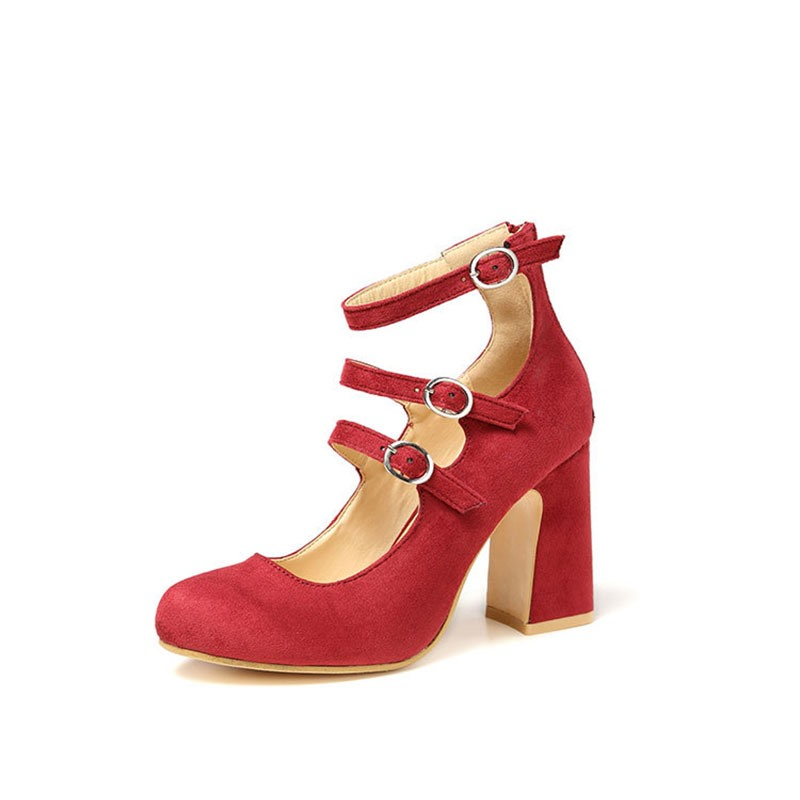 Ericdress Buckle Round Toe Chunky Heel Womens' Pumps