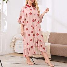 Nachtkleid mit Raffungsaum, Knopfen vorn und Apfel Muster