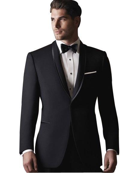 Men's 2 Button Black Satin Shawl Lapel Single Breasted Slim Fit Suit
