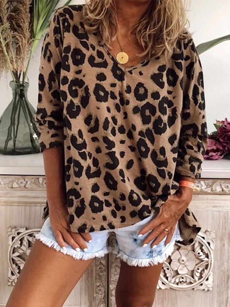 Ericdress Leopard Long Sleeve Standard Womens Casual Loose T-Shirt