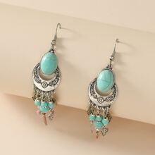 Turquoise Decor Tassel Drop Earrings