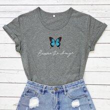 T-Shirt mit Schmetterling und Buchstaben Grafik