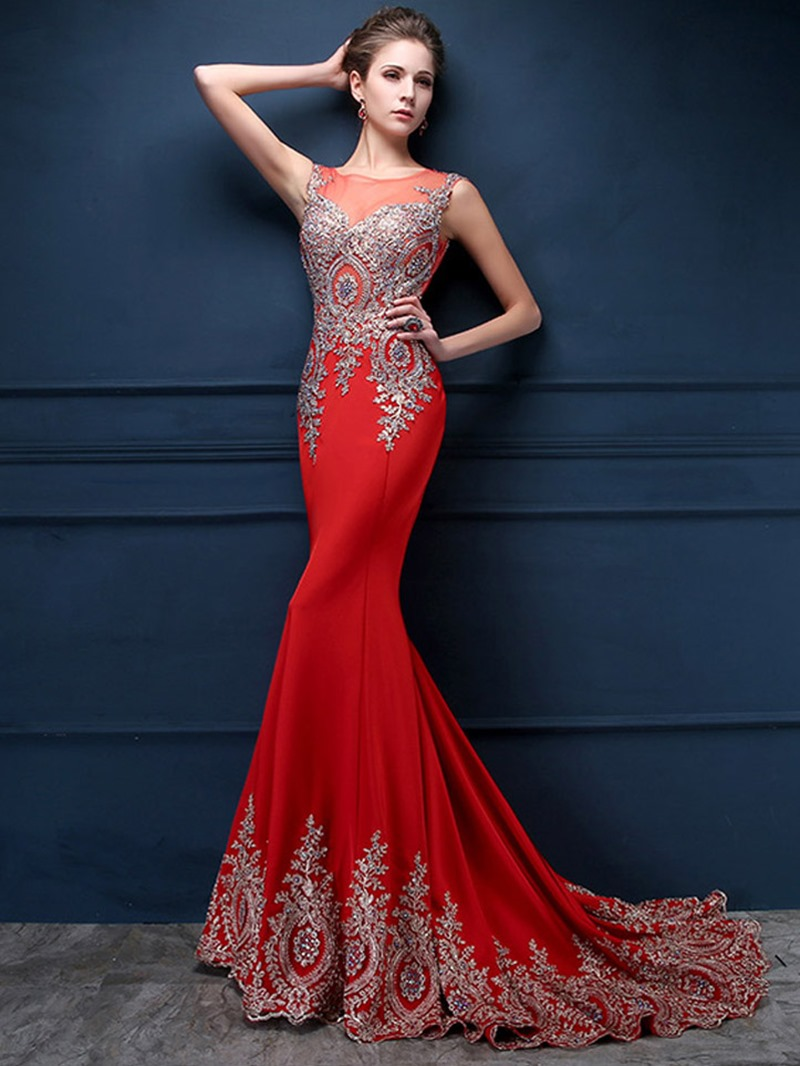 Ericdress Jewel Neck Appliques Mermaid Evening Dress