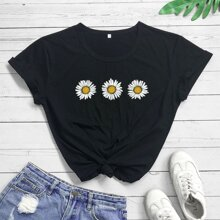 Daisy Floral Round Neck Tee