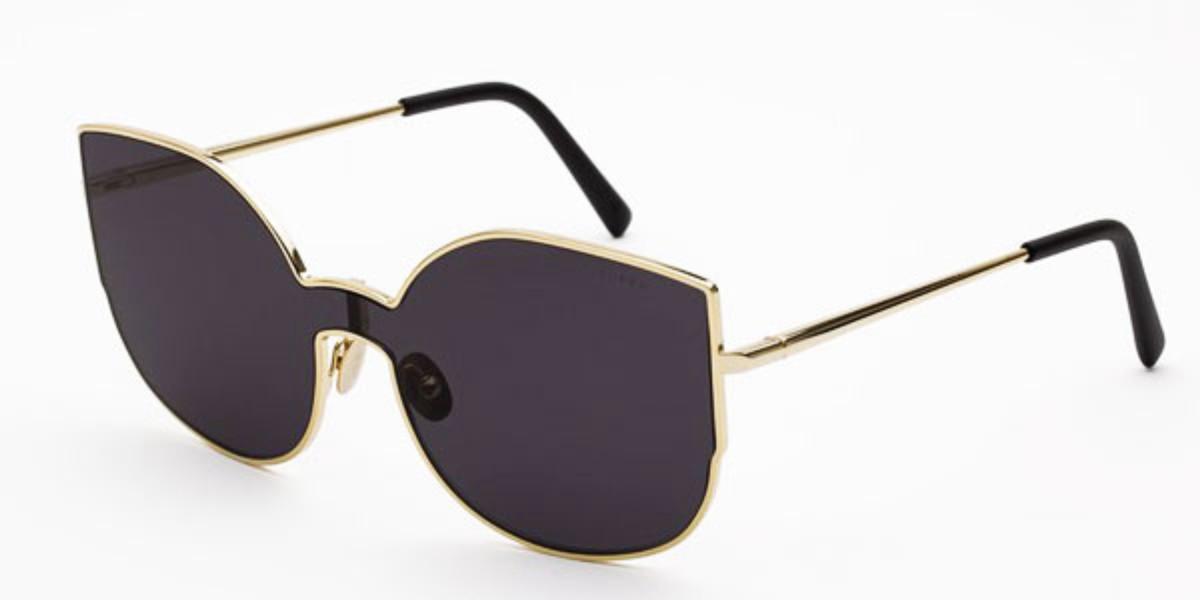 Retrosuperfuture Lenz Lucia Black ILI4 9VW Women's Sunglasses Gold Size 156