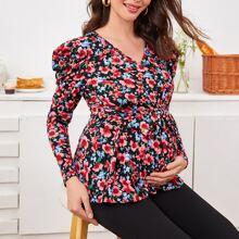 Maternidad top floral con cinturon de manga de pierna de cordero