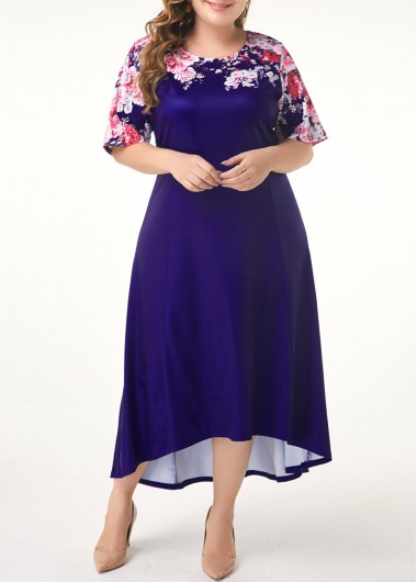 Women'S Plus Size Navy Blue Party Dress Mother Of The Bride Maxi Floral Printed Dip Hem Half Sleeve High Low Dress By Rosewe - 3X