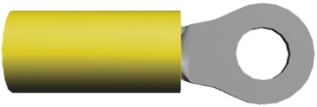 TE Connectivity , PIDG Insulated Crimp Ring Terminal, 1.68mm Stud Size, 0.1mm² to 0.4mm² Wire Size, Yellow (50)