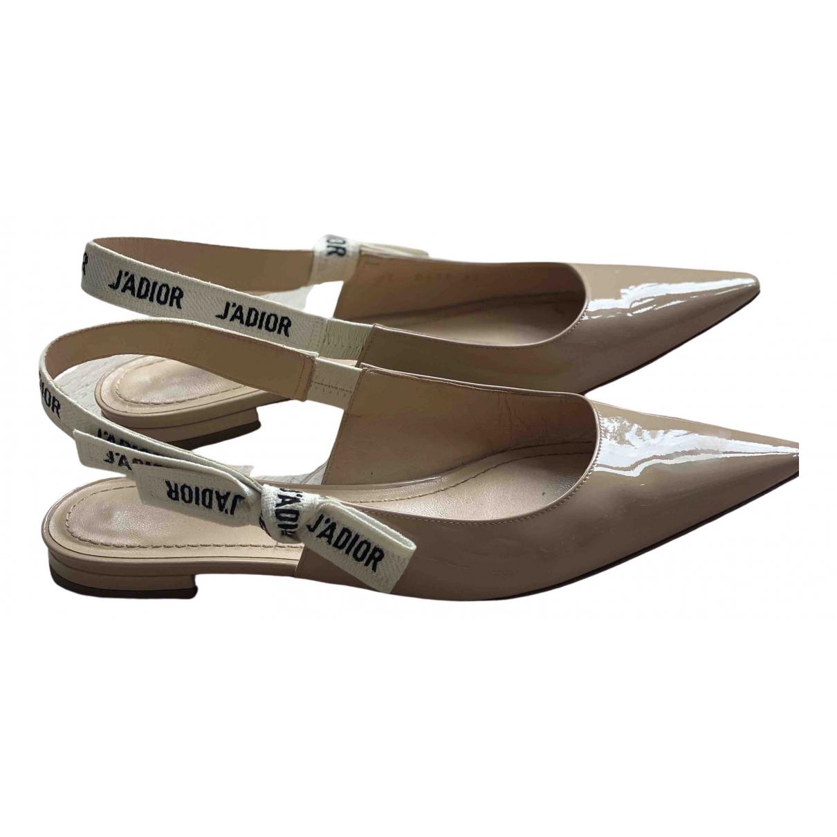 Dior J'adior Beige Patent leather Ballet flats for Women 37 EU