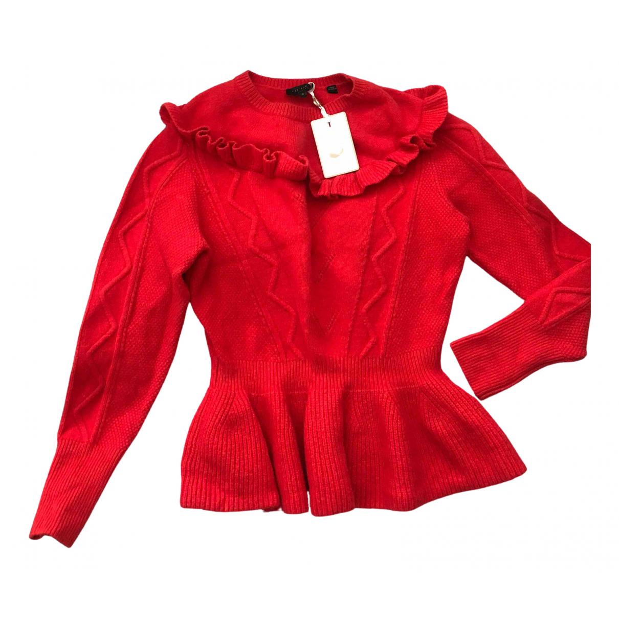 Ted Baker - Pull   pour femme en coton - rouge