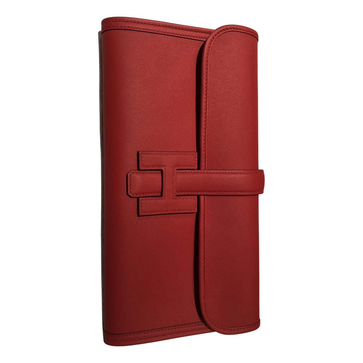 Hermes Jige Clutch in  Rot Leder