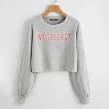 Letter Graphic Drop Shoulder Crop Pullover