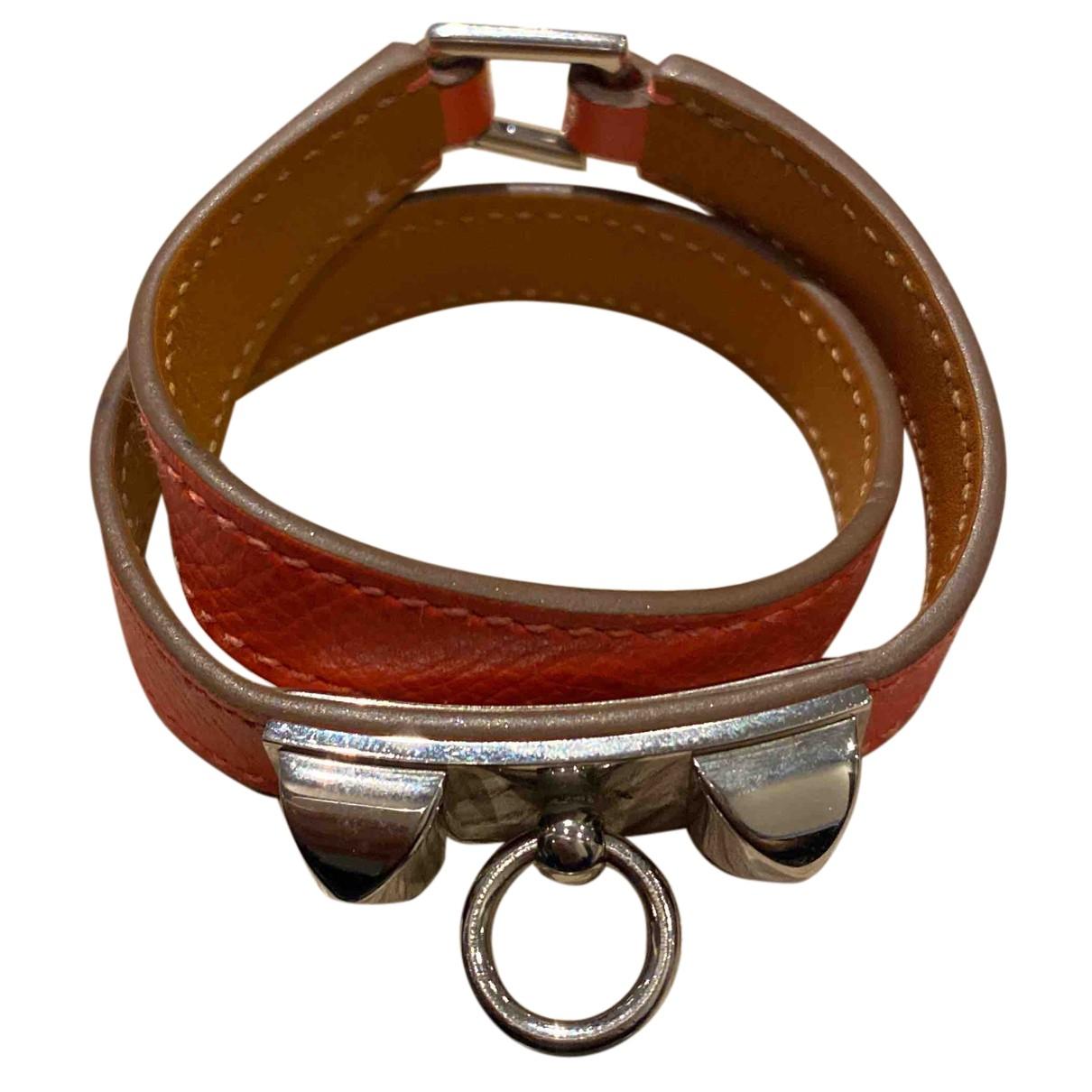 Hermes Rivale Armband in  Orange Leder