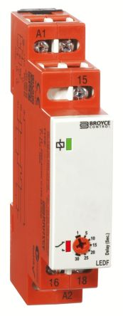 Broyce Control SPDT Timer Relay - 2 → 60 s, 1 Contacts, True Delay Off, DIN Rail