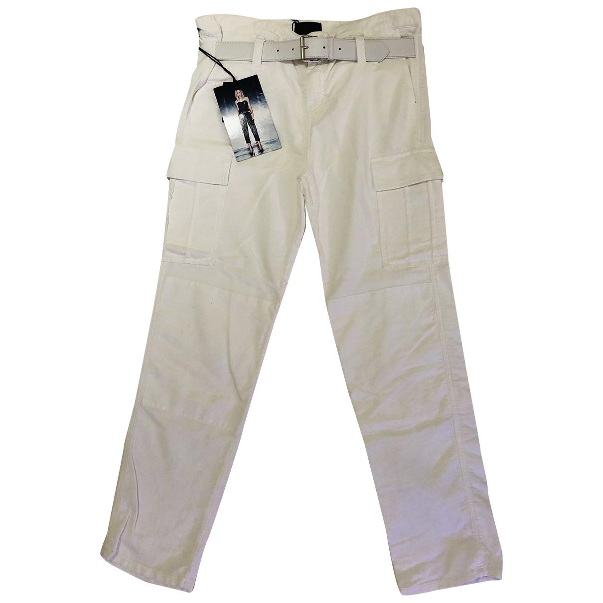 Rta N White Cotton Trousers for Women M International