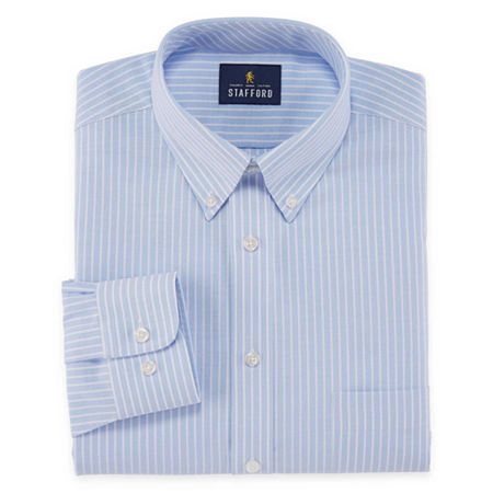 Stafford Mens Wrinkle Free Oxford Button Down Collar Athletic Fit Dress Shirt, 15 32-33, Blue