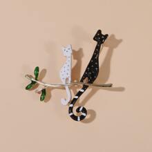 Brosche mit Katze Dekor