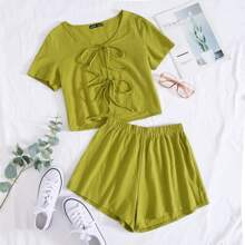 Tie Front Solid Top & Shorts Set