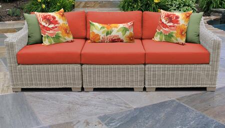 Coast Collection COAST-03c-TANGERINE 3-Piece Patio Sofa with Left Arm Chair  Armless Chair and Right Arm Chair - Beige and Tangerine